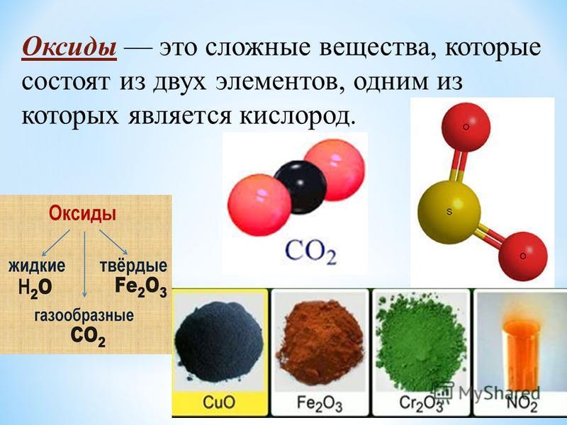 Оксиды это сложные вещества, которые состоят из двух элементов, одним из которых является кислород.