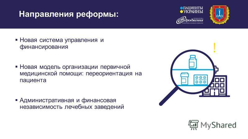 Направления реформы: Новая система управления и финансирования Новая модель организации первичной медицинской помощи: переориентация на пациента Административная и финансовая независимость лечебных заведений