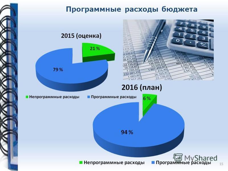 Программные расходы бюджета % 15