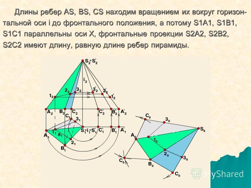 Длины ребер AS, BS, CS находим вращением их вокруг горизонт- Длины ребер AS, BS, CS находим вращением их вокруг горизонт- тальной оси i до фронтального положения, а потому S1A1, S1B1, S1C1 параллельны оси Х, фронтальные проекции S2A2, S2B2, S2C2 имею