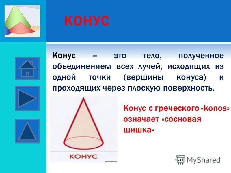 КОНУС Конус – это тело, полученное объединением всех лучей, исходящих из одной точки (вершины конуса) и проходящих через плоскую поверхность. Конус с греческого «konos» означает «сосновая шишка»