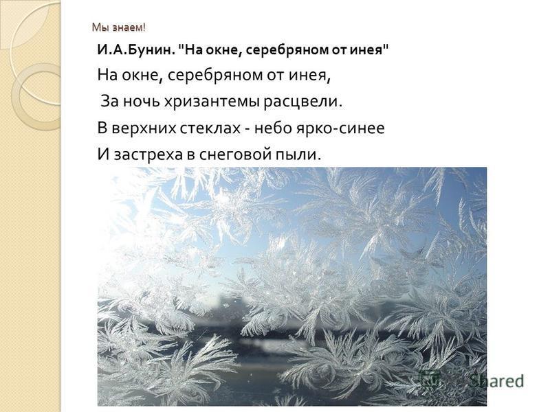 Мы знаем ! И. А. Бунин.  На окне, серебряном от инея  На окне, серебряном от инея, За ночь хризантемы расцвели. В верхних стеклах - небо ярко - синее И застреха в снеговой пыли.