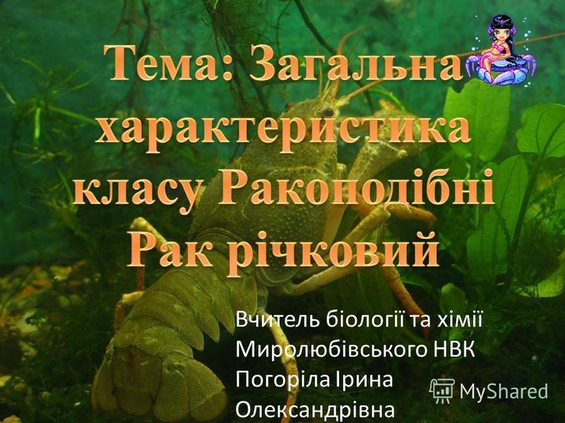 Вчитель біології та хімії Миролюбівського НВК Погоріла Ірина Олександрівна
