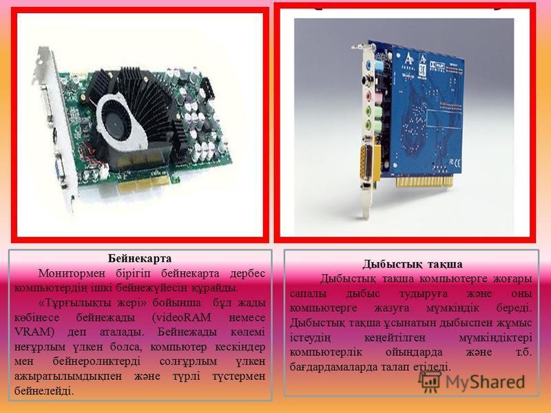 Бейнекарта Монитормен бірігіп бейнекарта дербес компьютердің ішкі бейнежүйесін құрайды. «Тұрғылықты жері» бойынша бұл жады көбінесе бейнежады (videoRAM немесе VRAM) деп аталады. Бейнежады көлемі неғұрлым үлкен болса, компьютер кескіндер мен бейнероли