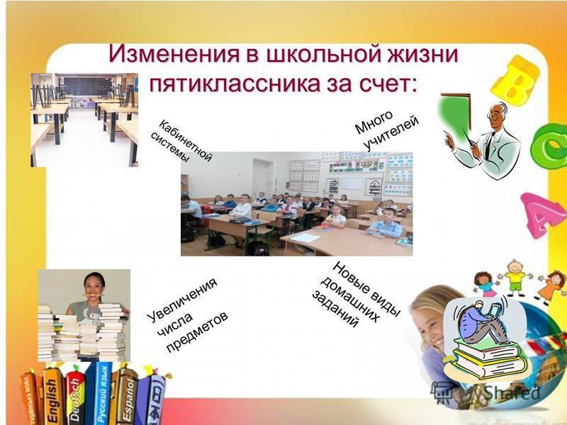 Изменения в школьной жизни пятиклассника за счет: Увеличения числа предметов Много учителей