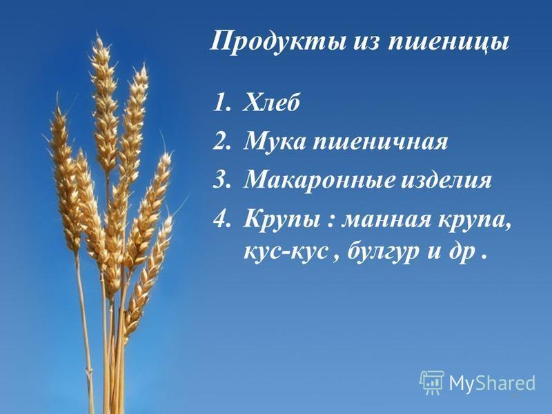 1. Хлеб 2. Мука пшеничная 3. Макаронные изделия 4. Крупы : манная крупа, кус-кус, булгар и др. Продукты из пшеницы 13