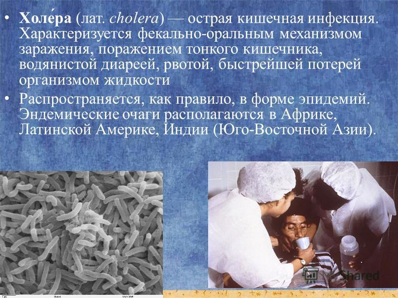Холе́ра (лат. cholera) острая кишечная инфекция. Характеризуется фекально-оральным механизмом заражения, поражением тонкого кишечника, водянистой диареей, рвотой, быстрейшей потерей организмом жидкости Распространяется, как правило, в форме эпидемий.