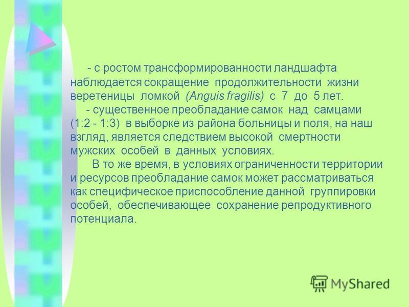 - с ростом стран сформированности ландшафта наблюдается сокращение продолжительности жизни веретеницы ломкой (Anguis fragilis) с 7 до 5 лет. - существенное преобладание самок над самцами (1:2 - 1:3) в выборке из района больницы и поля, на наш взгляд,