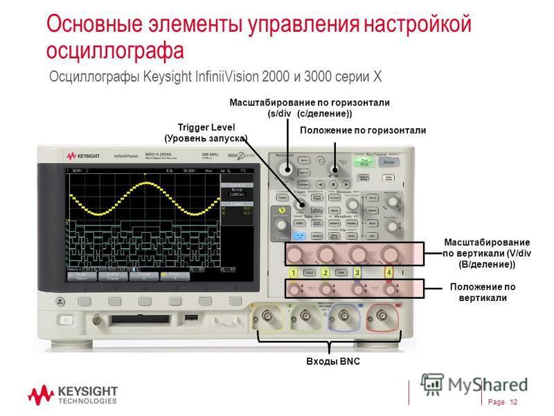 Page Основные элементы управления настройкой оссиллографа Оссиллографы Keysight InfiniiVision 2000 и 3000 серии X Масштабирование по горизонтали (s/div (с/деление)) Положение по горизонтали Положение по вертикали Масштабирование по вертикали (V/div (
