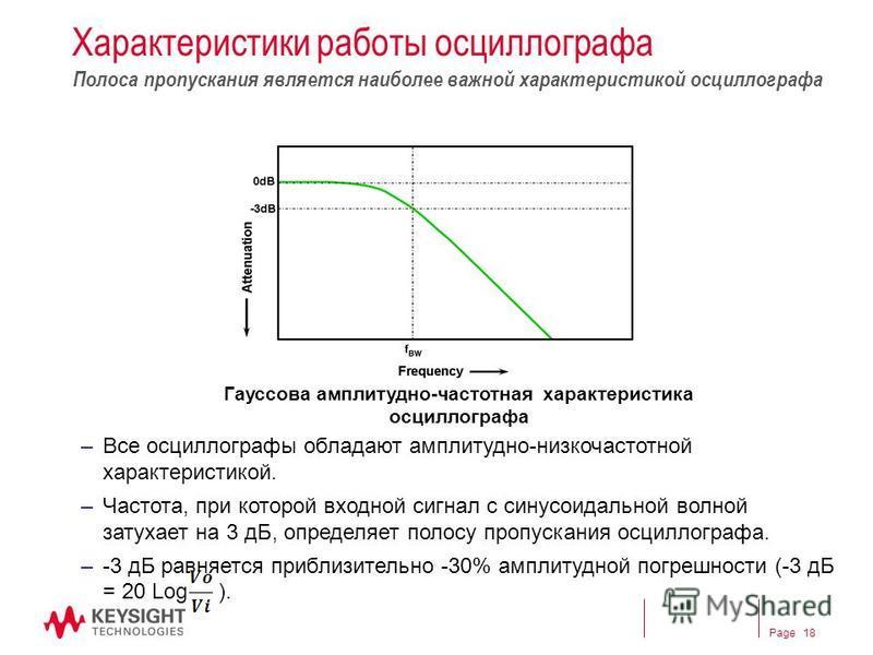Page Характеристики работы оссиллографа –Все оссиллографы обладают амплитудно-низкочастотной характеристикой. –Частота, при которой входной сигнал с синусоидальной волной затухает на 3 дБ, определяет полосу пропускания оссиллографа. –-3 дБ равняется