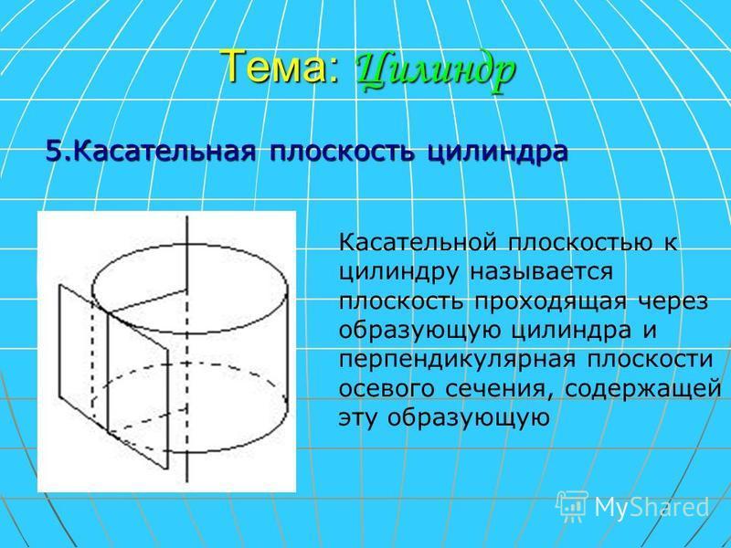 Тема: Цилиндр 5. Касательная плоскость цилиндра Касательной плоскостью к цилиндру называется плоскость проходящая через образующую цилиндра и перпендикулярная плоскости осевого сечения, содержащей эту образующую