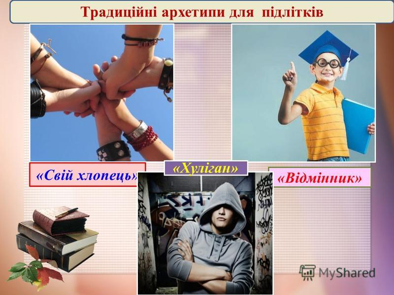 Традиційні архетипи для підлітків «Свій хлопець» «Відмінник» «Хуліган»