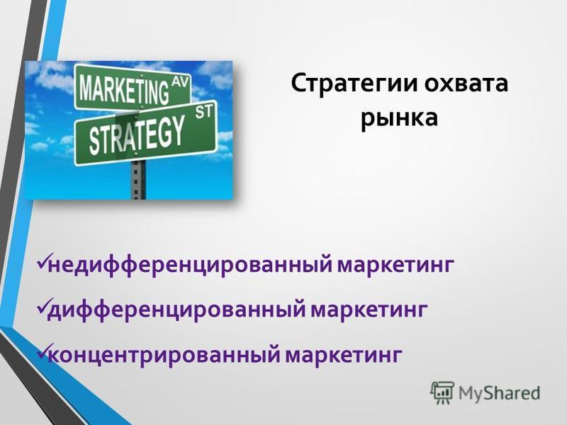 Стратегии охвата рынка недифференцированный маркетинг дифференцированный маркетинг концентрированный маркетинг