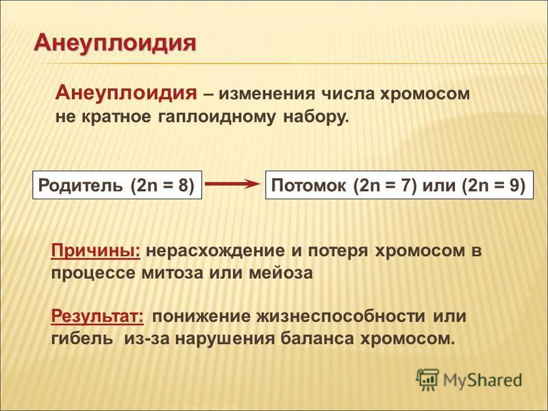 Родитель (2n = 8)Потомок (2n = 7) или (2n = 9) Анеуплоидия – изменения числа хромосом не кратное гаплоидному набору. Анеуплоидия Причины: нерасхождение и потеря хромосом в процессе митоза или мейоза Результат: понижение жизнеспособности или гибель из