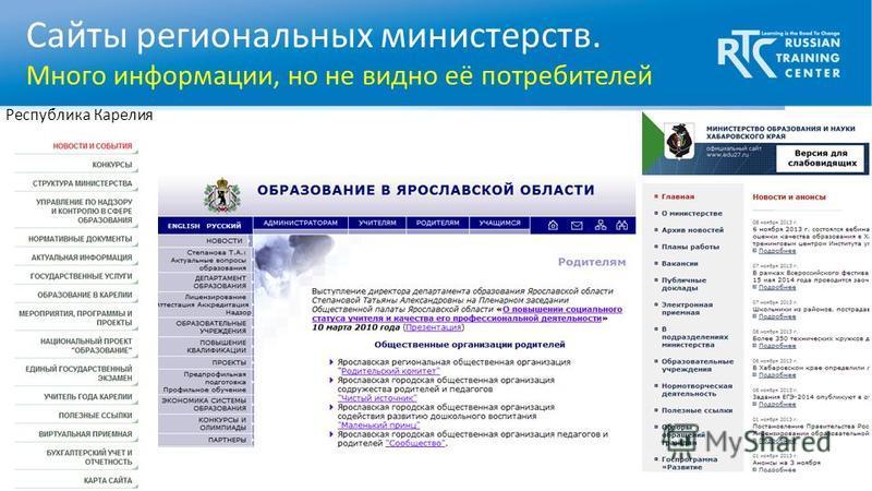 Сайты региональных министерств. Много информации, но не видно её потребителей Республика Карелия