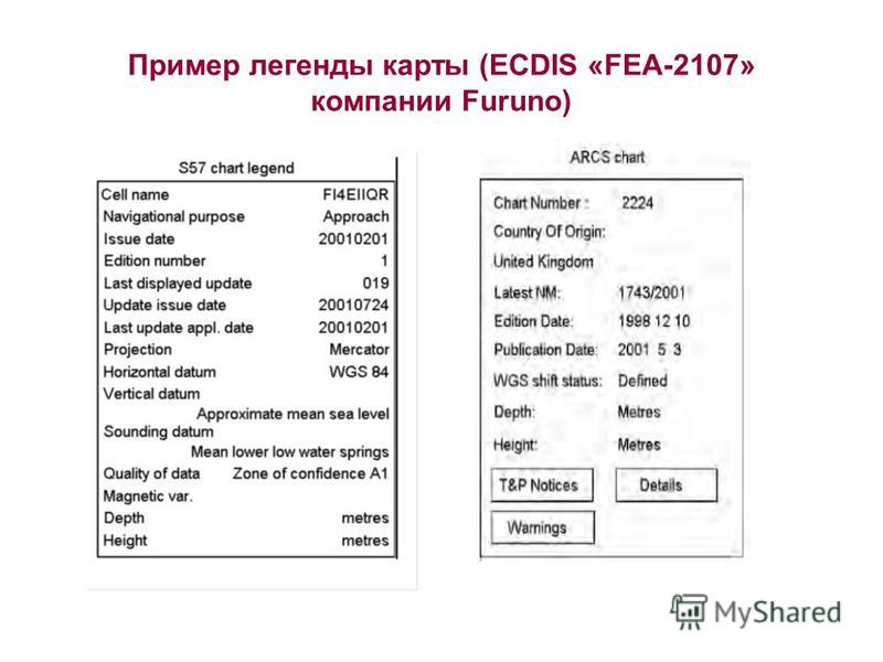 Пример легенды карты (ECDIS «FEA-2107» компании Furuno)