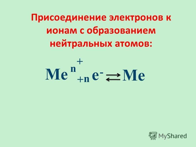 Присоединение электронов к ионам с образованием нейтральных атомов: Ме + n е - n +