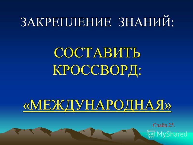 СОСТАВИТЬ КРОССВОРД: «МЕЖДУНАРОДНАЯ» СОСТАВИТЬ КРОССВОРД: «МЕЖДУНАРОДНАЯ» Слайд 25. ЗАКРЕПЛЕНИЕ ЗНАНИЙ: