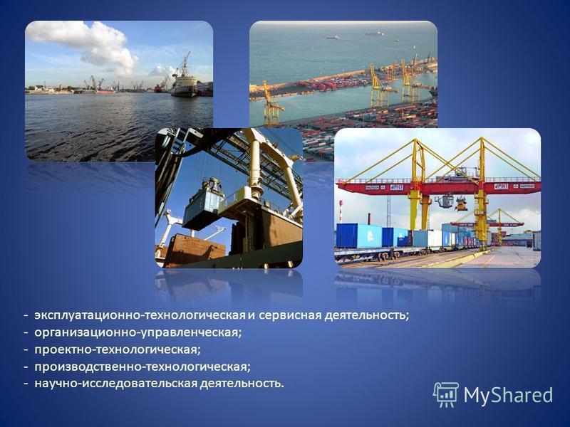 - эксплуатационно-технологическая и сервисная деятельность; - организационно-управленческая; - проектно-технологическая; - производственно-технологическая; - научно-исследовательская деятельность.