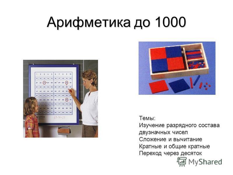 Арифметика до 1000 Темы: Изучение разрядного состава двузначных чисел Сложение и вычитание Кратные и общие кратные Переход через десяток