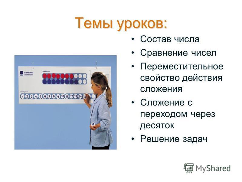 Темы уроков: Состав числа Сравнение чисел Переместительное свойство действия сложения Сложение с переходом через десяток Решение задач