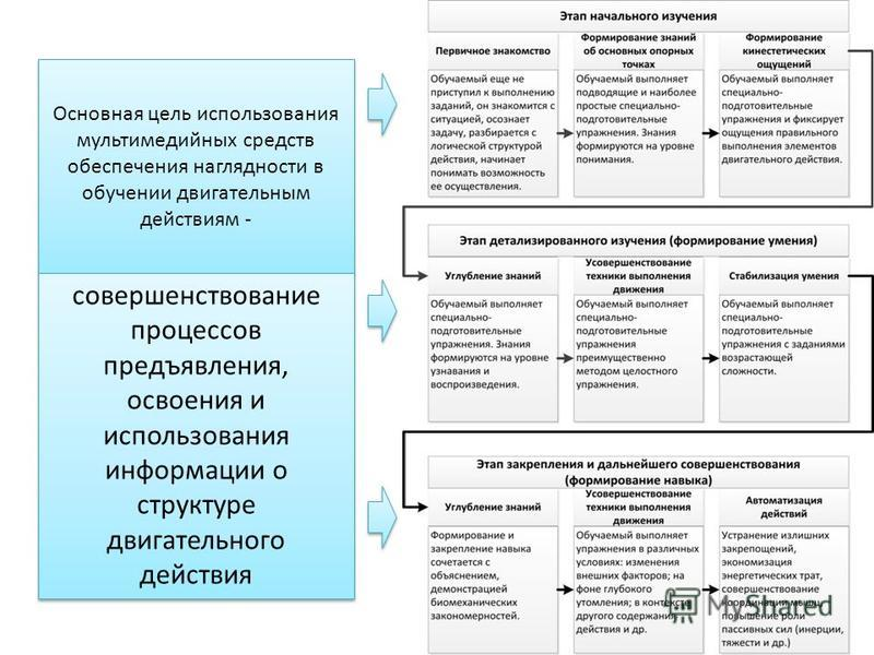 Основная цель использования мультимедийных средств обеспечения наглядности в обучении двигательным действиям - совершенствование процессов предъявления, освоения и использования информации о структуре двигательного действия