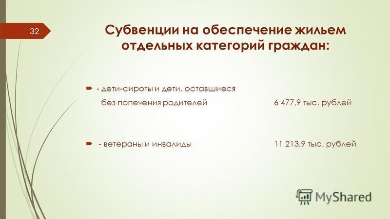 Субвенции на обеспечение жильем отдельных категорий граждан: - дети-сироты и дети, оставшиеся без попечения родителей 6 477,9 тыс. рублей - ветераны и инвалиды 11 213,9 тыс. рублей 32