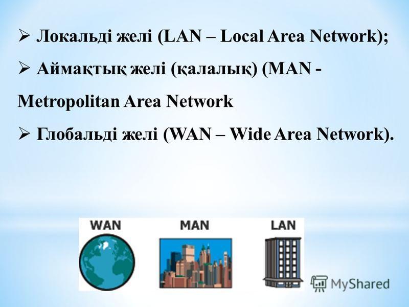 Локальді желі (LAN – Local Area Network); Аймақтық желі (қалалық) (MAN - Metropolitan Area Network Глобальді желі (WAN – Wide Area Network).