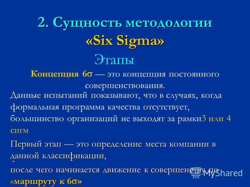 2. Сущность методологии «Six Sigma» Этапы Концепция 6 это концепция постоянного совершенствования. Данные испытаний показывают, что в случаях, когда формальная программа качества отсутствует, большинство организаций не выходят за рамки 3 или 4 сигм П