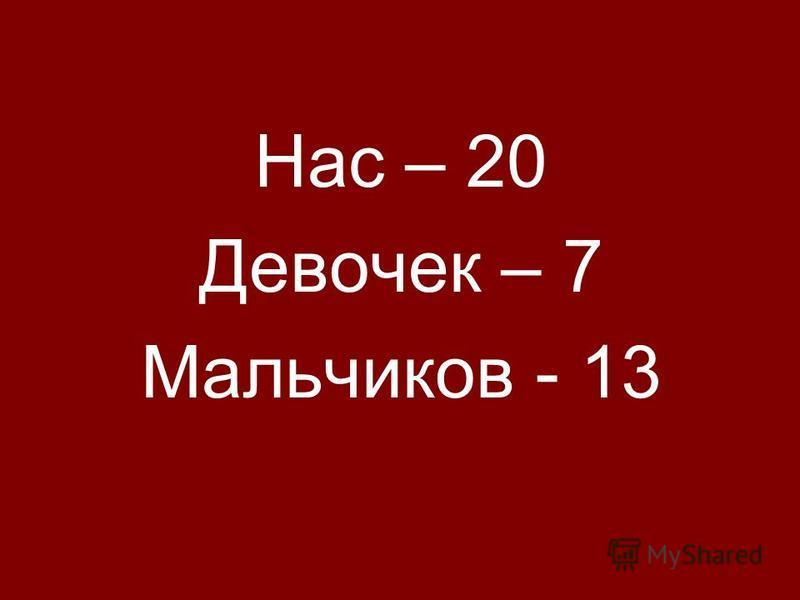 Нас – 20 Девочек – 7 Мальчиков - 13