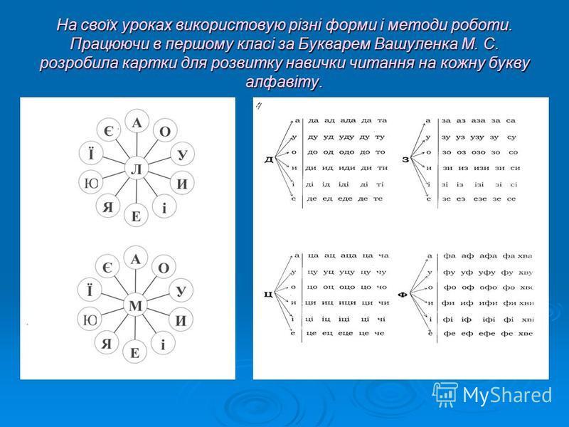 На своїх уроках використовую різні форми і методи роботи. Працюючи в першому класі за Букварем Вашуленка М. С. розробила картки для розвитку навички читання на кожну букву алфавіту.
