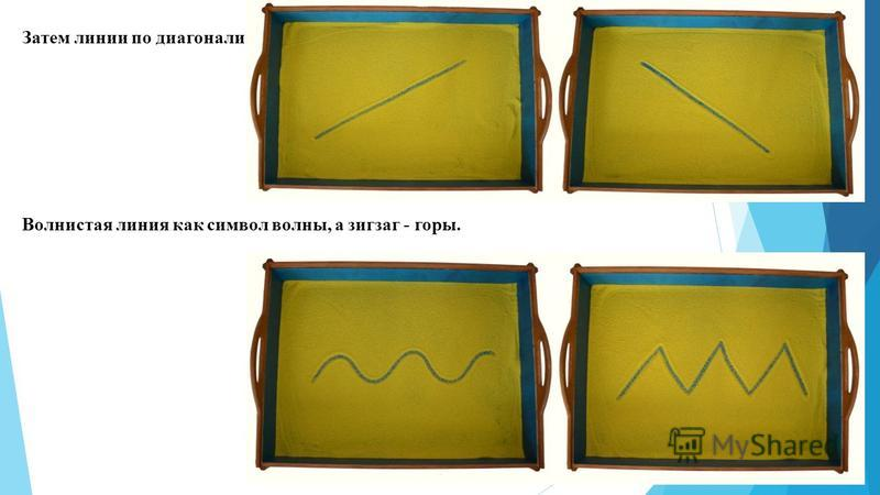 Затем линии по диагонали: Волнистая линия как символ волны, а зигзаг - горы.