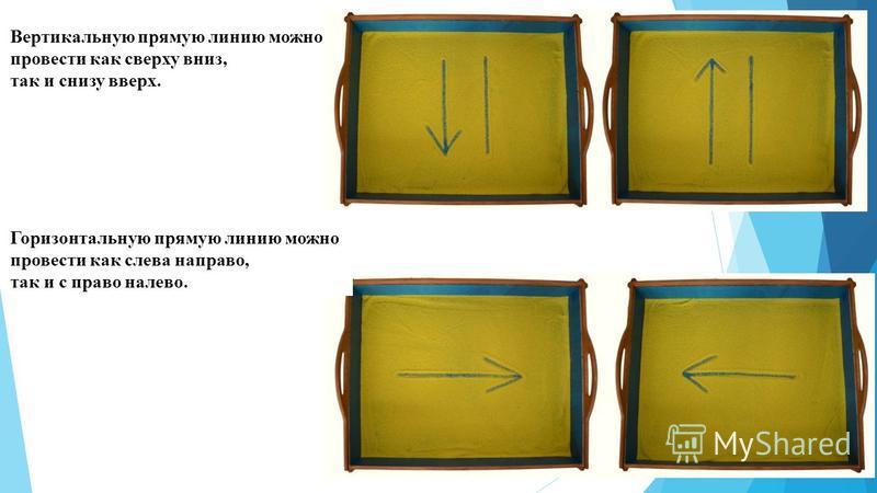 Вертикальную прямую линию можно провести как сверху вниз, так и снизу вверх. Горизонтальную прямую линию можно провести как слева направо, так и с право налево.