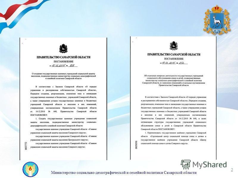 Министерство социально-демографической и семейной политики Самарской области 2