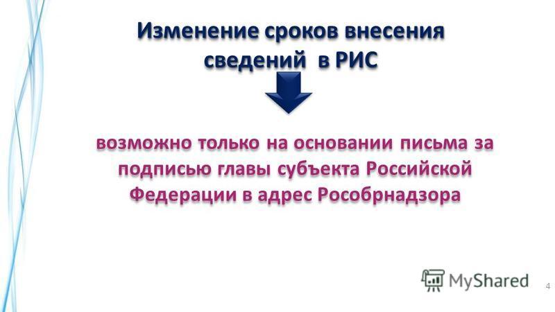 Изменение сроков внесения сведений в РИС возможно только на основании письма за подписью главы субъекта Российской Федерации в адрес Рособрнадзора ! ! 4