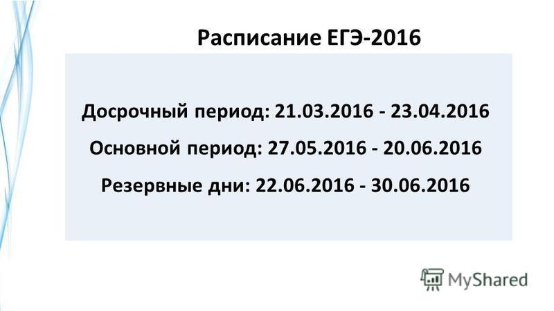 Расписание ЕГЭ-2016 Досрочный период: 21.03.2016 - 23.04.2016 Основной период: 27.05.2016 - 20.06.2016 Резервные дни: 22.06.2016 - 30.06.2016