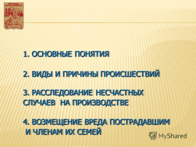 1. ОСНОВНЫЕ ПОНЯТИЯ 2. ВИДЫ И ПРИЧИНЫ ПРОИСШЕСТВИЙ 3. РАССЛЕДОВАНИЕ НЕСЧАСТНЫХ СЛУЧАЕВ НА ПРОИЗВОДСТВЕ 3. РАССЛЕДОВАНИЕ НЕСЧАСТНЫХ СЛУЧАЕВ НА ПРОИЗВОДСТВЕ 4. ВОЗМЕЩЕНИЕ ВРЕДА ПОСТРАДАВШИМ И ЧЛЕНАМ ИХ СЕМЕЙ И ЧЛЕНАМ ИХ СЕМЕЙ 4. ВОЗМЕЩЕНИЕ ВРЕДА ПОСТРА