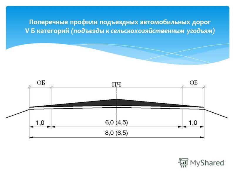 Поперечные профили подъездных автомобильных дорог V Б категорий (подъезды к сельскохозяйственным угодьям)