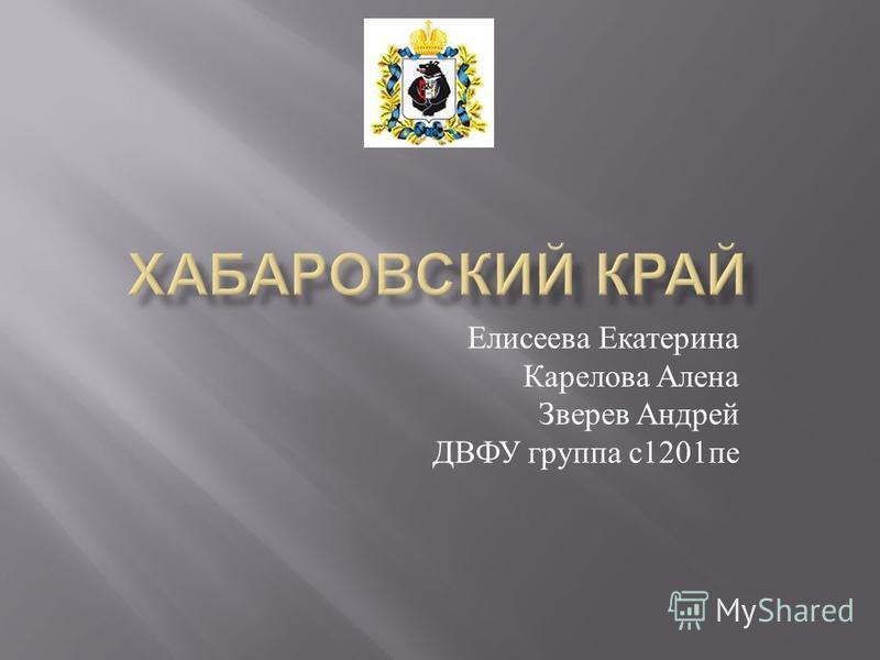 Елисеева Екатерина Карелова Алена Зверев Андрей ДВФУ группа с 1201 пе