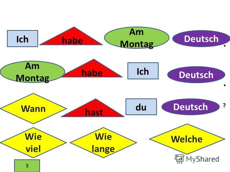 Ich habe Am Montag Ich habe Am Montag Deutsch Wann hast du Deutsch ?.. Wie viel Wie lange Welche 3
