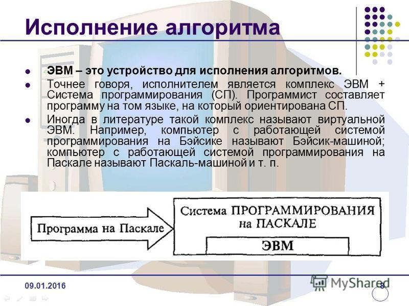 Исполнение алгоритма ЭВМ – это устройство для исполнения алгоритмов. Точнее говоря, исполнителем является комплекс ЭВМ + Система программирования (СП). Программист составляет программу на том языке, на который ориентирована СП. Иногда в литературе та
