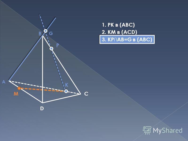 B C D M P K A G 1. PK в (ABC) 2. KM в (ACD) 3. KPAB=G в (ABC)