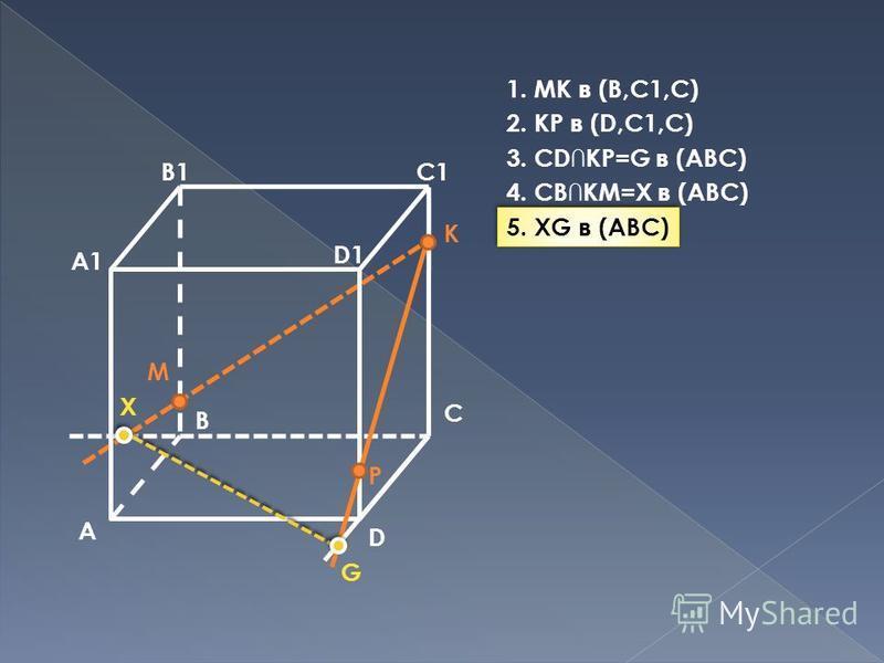 A B C D A1 B1C1 D1 M P K G X 1. MK в (B,C1,C) 2. KP в (D,C1,C) 3. CDKP=G в (ABC) 4. CBKM=X в (ABC) 5. XG в (ABC)