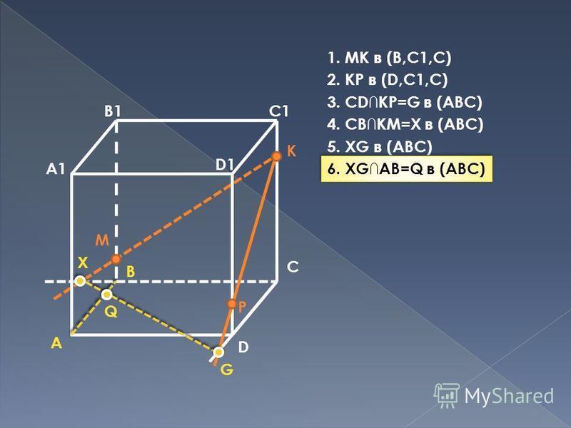 A B C D A1 B1C1 D1 M P K G X Q 1. MK в (B,C1,C) 2. KP в (D,C1,C) 3. CDKP=G в (ABC) 4. CBKM=X в (ABC) 5. XG в (ABC) 6. XGAB=Q в (ABC)