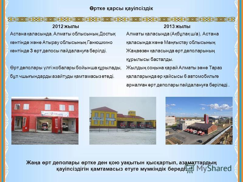 2012 жылы Астана қаласында, Алматы облысының Достық кентінде және Атырау облысының Ганюшкино кентінде 3 өрт депосы пайдалануға берілді. Өрт деполары үлгі жобалары бойынша құрылады, бұл чшығындарды азайтуды қамтамасыз етеді. 2013 жылы Алматы қаласында