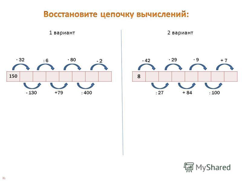 1 вариант 2 вариант 150 8 32 - 2 80 : 6- 42 29 9 + 7 : 400+79- 130: 27+ 84: 100 31