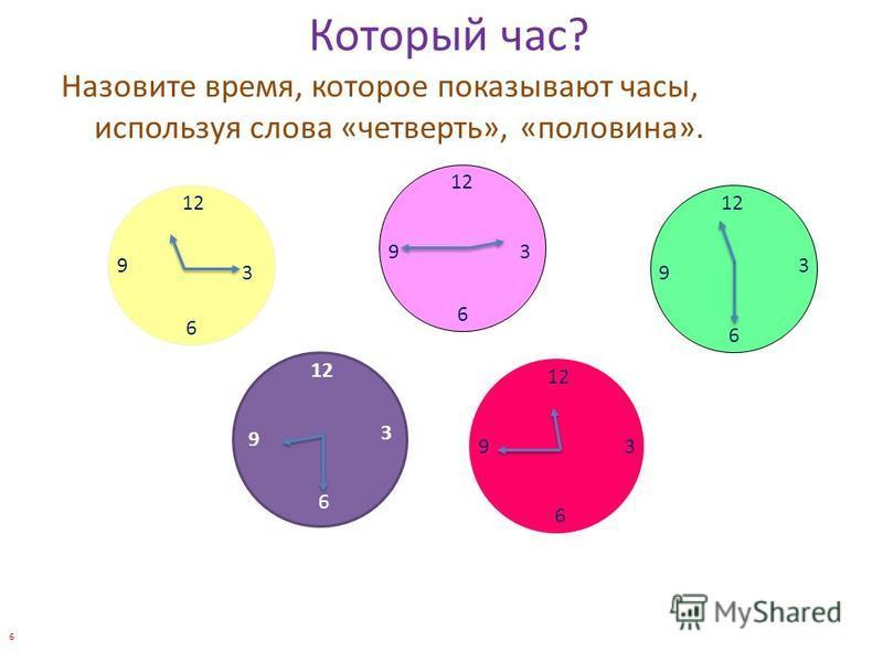 Который час? Назовите время, которое показывают часы, используя слова «четверть», «половина». 12 3 6 9 3 6 9 3 6 9 3 6 9 3 6 9 6