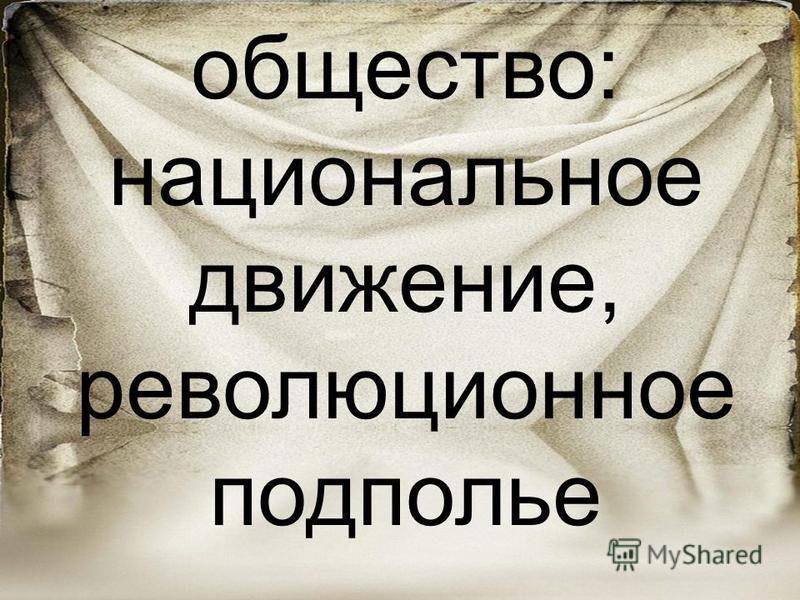 Российское общество: национальное движение, революционное подполье