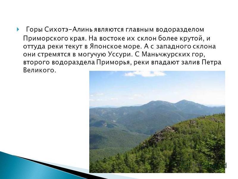 Горы Сихотэ-Алинь являются главным водоразделом Приморского края. На востоке их склон более крутой, и оттуда реки текут в Японское море. А с западного склона они стремятся в могучую Уссури. С Маньчжурских гор, второго водораздела Приморья, реки впада