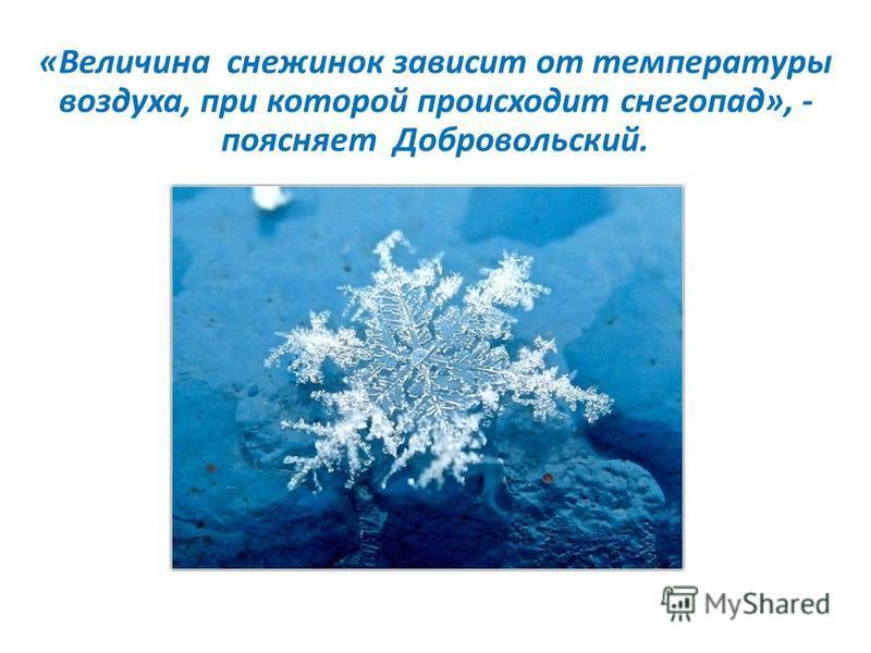 «Величина снежинок зависит от температуры воздуха, при которой происходит снегопад», - поясняет Добровольский.